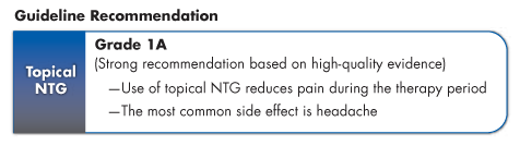 This is a table of prescription therapies for CAF            Topical NTG is graded 1A (strong recommendation based on high-quality evidence)            Use of topical NTG reduces pain during the therapy period            The most common side effect is headache            Topical calcium channel blockers are graded 1B (strong recommendation based on moderate-quality evidence)            The most common side effect is headache            Botulinum toxin injections are graded 1C (strong recommendation based on low-quality evidence)            The most common side effects are temporary gas and stool incontinence            No head-to-head trials of RECTIV vs other prescription therapies for CAF have been conducted.
